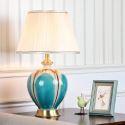 Keramik Tischleuchte mit Lampenschirm aus Stoff für Schlafzimmer