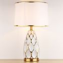 Moderne Keramik Tischleuchte mit Lampenschirm aus Stoff