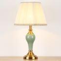 Keramik Tischleuchte mit Lampenschirm aus Stoff Landhausstil