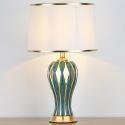 Feine Tischleuchte Keramikfuß Vase Form Grün/weiß