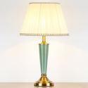 Keramik Tischleuchte mit Lampenschirm aus Stoff Modern