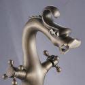 Waschtischarmatur Zweigriff Antik Messing Drachen Design