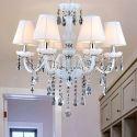 Kristall Kronleuchter mit Lampenschirm in Weiß Kerzen Design für Wohnzimmer