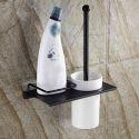 WC Bürstengarnitur mit Halter Messing Schwarz