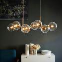 Moderne Pendelleuchte Glas Kugel Design Eisen in Schwarz/Gold 8 flammig