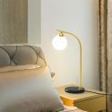 Led Tischlampe Glas Kugel Design 1 flammig in Gold/Schwarz