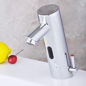 (EU Lager)Chrom Bad Waschtischarmatur mit automatischer Sensor Wasserkraft (warm / kalt)