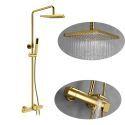 Duschsystem Thermostat Aufputz Regendusche Eckig mit Handbrause in Gold