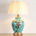 Feine Keramik Tischleuchte mit Blumen Muster Landhausstil