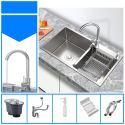 Einbauspüle aus Edelstahl Doppel-Becken für die Küche