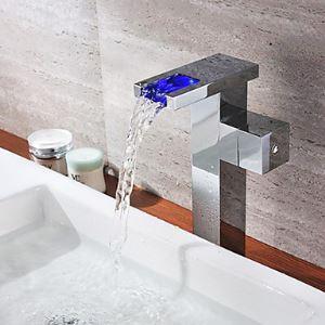 (EU Lager)Chrom Einhand Farbwechsel LED Wasserfall Bad Waschtischarmatur(Tall)
