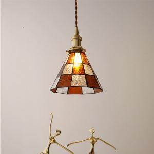 Vintage Hängelampe Glas Karo Muster 1 flammig für Esszimmer