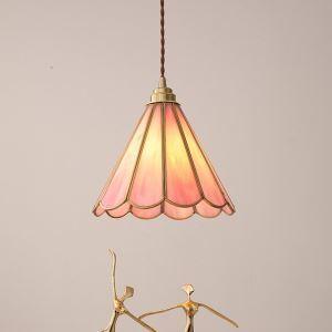 Romantische Hängeleuchte Glas Floral Design 1 flammig