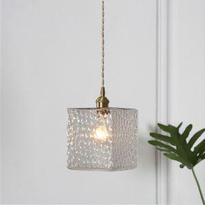 Mini Hängeleuchte Glas Cube Design 1 flammig für Esstisch