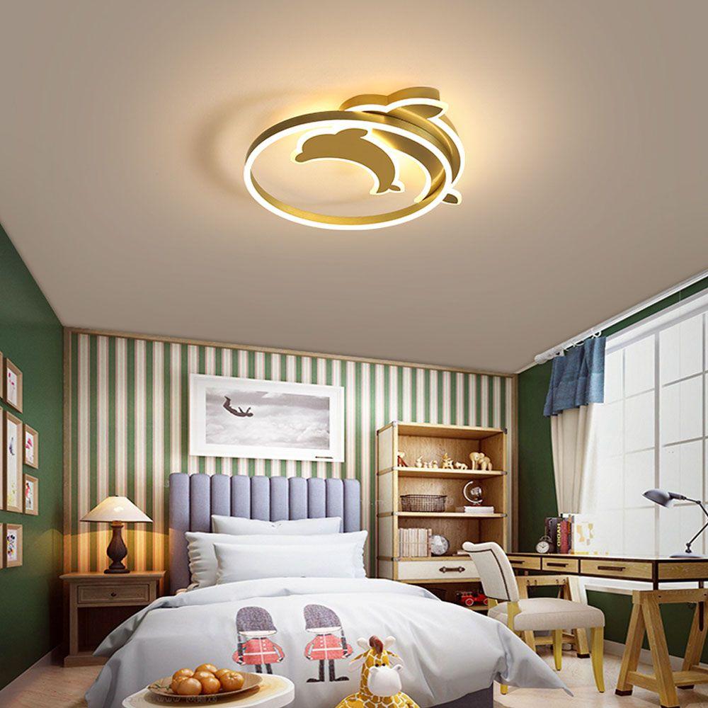Led Deckenleuchte Delfine Design In Gold Fur Schlafzimmer