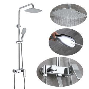 Duschsystem Aufputz Regendusche Set Eckiges Design aus Messing