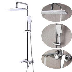 Duschsystem Aufputz Regendusche Set mit Wanneneinlauf in Gold Gebürstet / Chrom / Schwarz