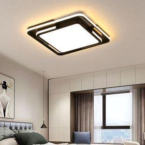 Led Deckenleuchte Modern Eckiges Design in Schwarz für Wohnzimmer