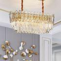Außergewöhnliche Pendelleuchte Oval Design aus Glas Eisen 10 flammig