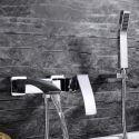 Moderne Wannenarmtur Bad Aufputz Wandmontage mit Handbrause Chrom
