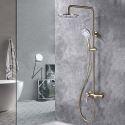 Duschsystem Aufputz Wandmontage mit Regenbrause Handbrause in Gold
