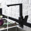 Küchenarmatur Drehbar Einhand Eckiges Design aus Messing in Schwarz/Chrom