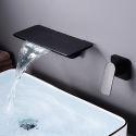 Waschtischarmatur Wasserfall Wandmontage Eckiges Design Einhebel in Schwarz/Weiß