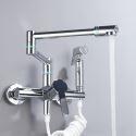 Küchenarmatur Einhand Wandmontage Faltbar mit Brause in Chrom/Schwarz/Nickel Gebürstet