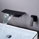 Waschtischarmatur Wasserfall Wandmontage Einhand in Schwarz/Weiß