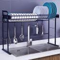 Abtropfgestell über Spüle Küchenregal aus Edelstahl in Schwarz