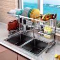 Abtropfregal Küche Doppelschicht Geschirrablage aus Edelstahl