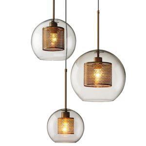 Glas Pendelleuchte Modern Kugel Design 3 flammig für Wohnzimmer