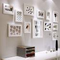 12er Bilderrahmen Set Holz Modern in Weiß/Schwarz