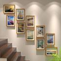 10er Bilderrahmen Set Holz Modern für Treppenhaus