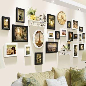 21er Bilderrahmen Set Holz für grosse Bilderwand Europäischer Stil