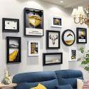 10er Bilderrahmen Set Modern aus Holz in Schwarz Weiß