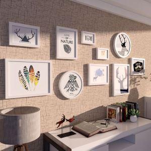 10er Bilderrahmen Set Holz Modern in Schwarz/Weiß