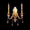 Kristall Wandlampe Kunstvoll 2 flammig in Gold