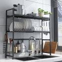 Küchenregal über Spüle aus Edelstahl in Schwarz