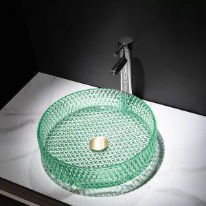Glas Waschbecken Modern in Grün Rund im Badzimmer