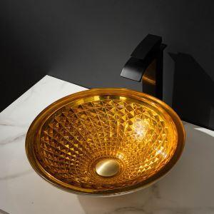 Glas Waschbecken Modern in Gold im Badzimmer