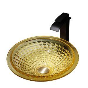 Waschbecken aus Glas Aufsatzwaschbecken Rund in Gelb