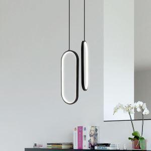 Led Pendelleuchte Modern Oval Design aus Acryl in Schwarz/Weiß