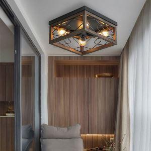 Deckenleuchte Landhaus Stil Eckiges Design aus Eisen 4 flammig