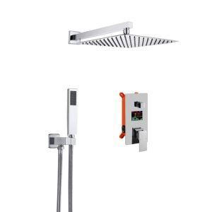 Duschsystem Unterputz Einhand mit Handbrause Regenkopf Led Temperaturanzeige