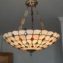 Tiffany Pendelleuchte Landhaus Stil aus Glas 5 flammig