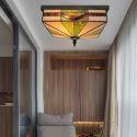 Tiffany Deckenleuchte Eckiges Design aus Glas 4 flammig