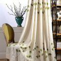 Vorhang aus Leinen Blätter Stickerei für Wohnzimmer (1er Pack)