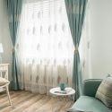 Vorhang Modern aus Leinen Blätter Stickerei für Wohzimmer (1er Pack)