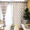 Vorhang aus Polyester Raute Muster für Wohnzimmer (1er Pack)